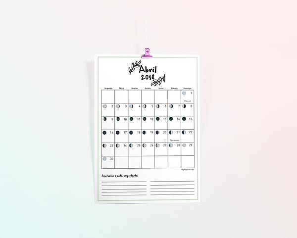 Calendário Lunar Abril 2018