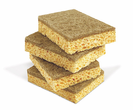 CELLULOSE SPONGE WITH RECYCLED ABRASIVE