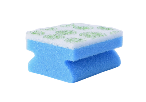 KITCHEN SPONGE WITH STAMPED ABRASIVE