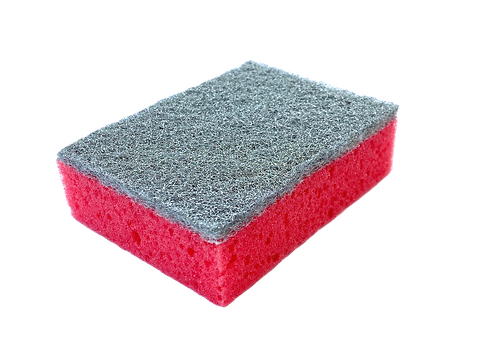 SPONGE WITH NON-SCRATCH ABRASIVE