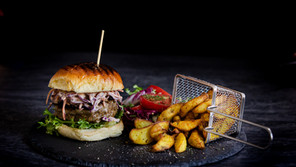 Garlic and Mint Lamb Burger & Homemade wedges with Coleslaw