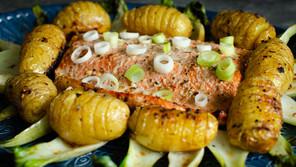Salmon and Hasselback Potatoes
