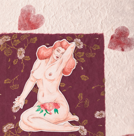 Neta Rose pin-up with peonies