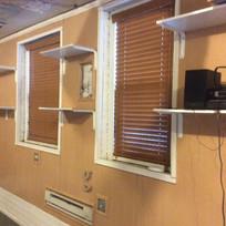 Windows along N wall+shelving