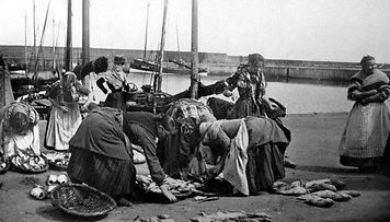 Old Photograph Fishwives Sorting Fish Po