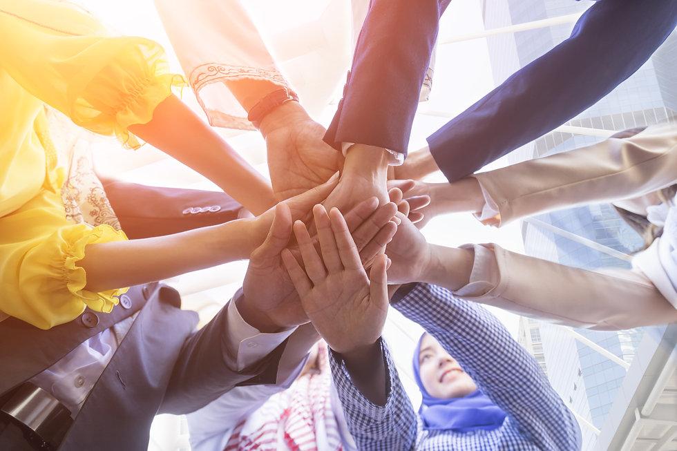 Underneath view, Business teamwork group