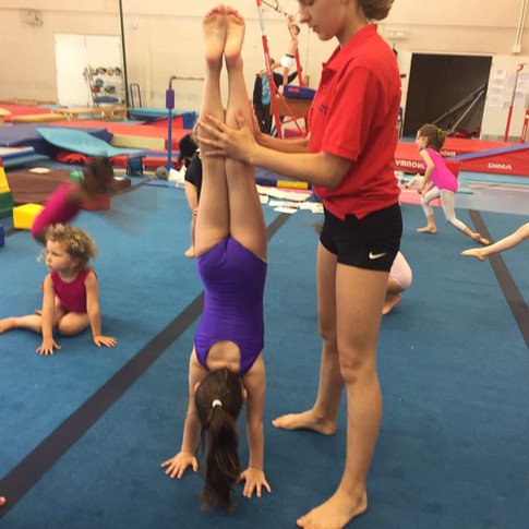 Leadership member with Preschool gymnasts doig handstand