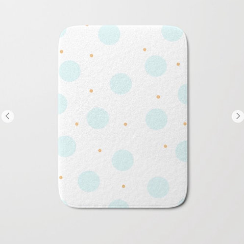 blue polka dots bath mat