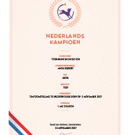 Ja, nu is Sachi officieel Nederlands Kampioen! / Yeah, now Sachi is now officially Dutch Champion!