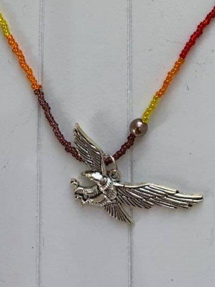 Eagle necklace 'Fire colours'