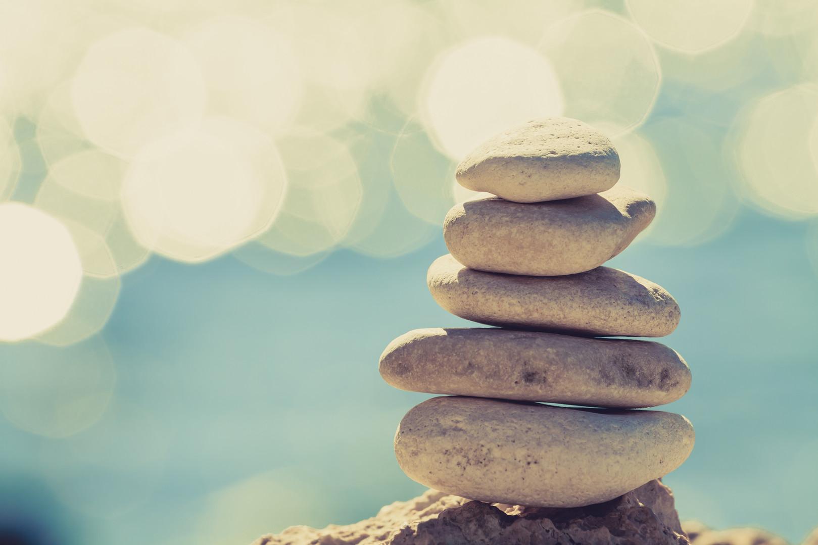Stones balance at the vintage beach, ins