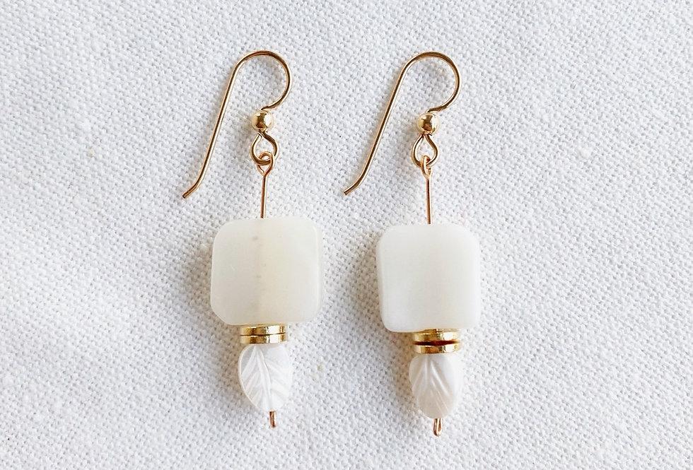 Moonstone Leaf Earrings