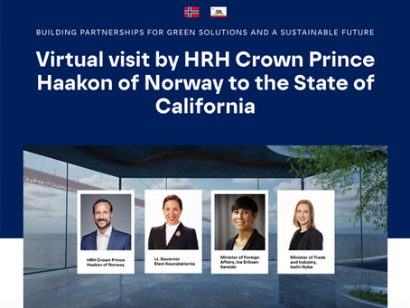 Virtual visit by HRH Crown Prince Haakon of Norway to the State of California