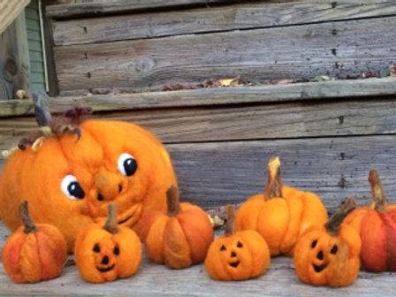Small Needle Felt Pumpkins