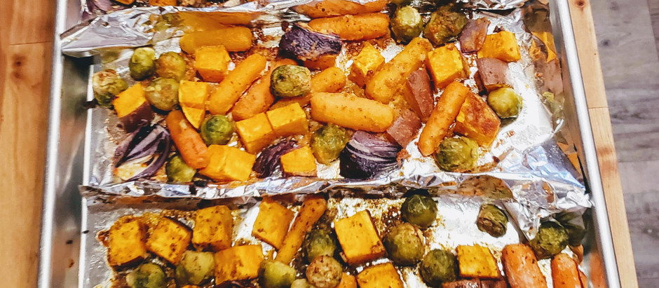 Sheet Pan Veggies and Chicken Fingers Cooking Video
