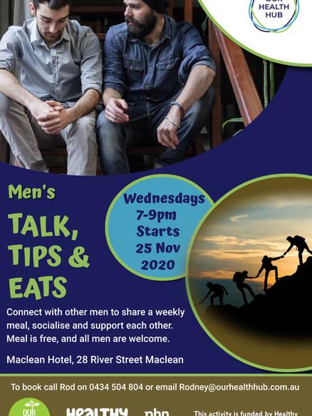 Mens Talk Tips and Eats draft poster 202