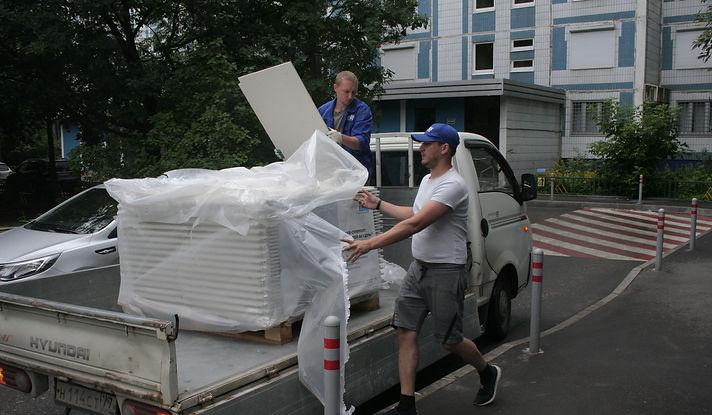 Доставка материалов Кнауф на малотоннажном автомобиле