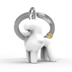 Porte clés Caniche Blanc