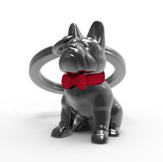 Porte clés Bull Dog Noir