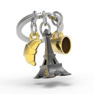 Porte clés Tour Eiffel Noire
