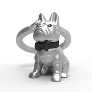 Porte clés Bull Dog Argenté