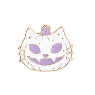 Pins Chat Citrouille Blanc