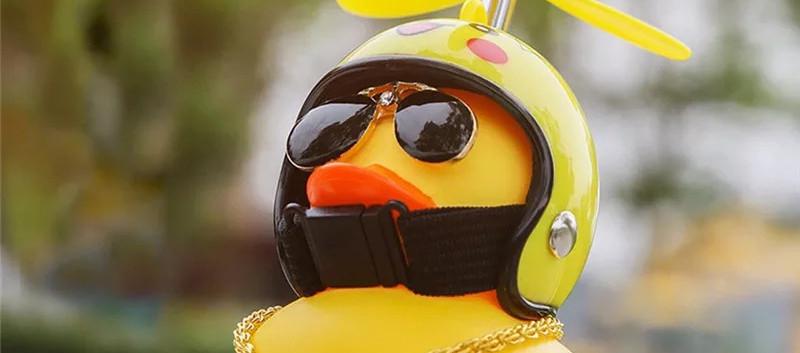 Canard avec Casque de Moto
