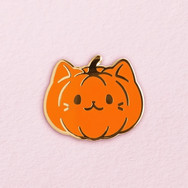 Pins Chat Citrouille Orange