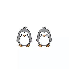 Boucles d'Oreilles Pingouin Gris
