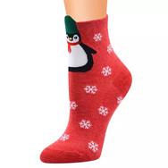 Chaussettes Rouges Pingouin Noël