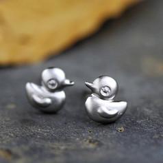 Boucles d'Oreilles Canard Argenté