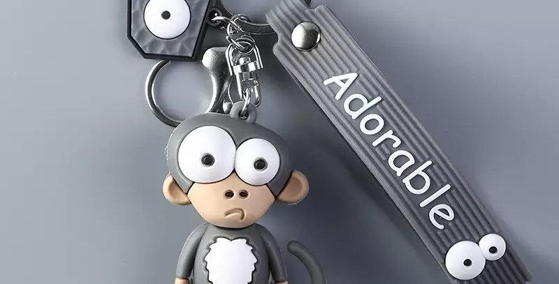 Porte-Clés Singe Cartoon Gris