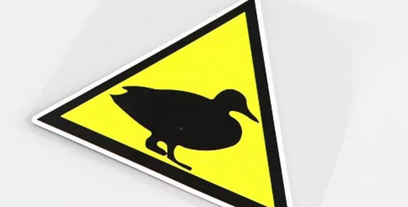 Warning Duck Sticker