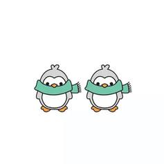 Boucles d'Oreilles Pingouin Echarpe