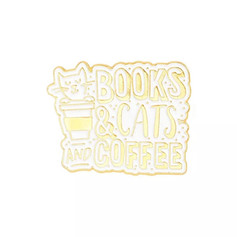 Pins Chat Books & Cats and Coffee