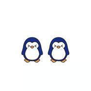 Boucles d'Oreilles Pingouin Bleu