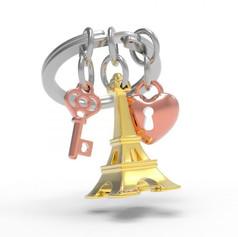Porte clés Tour Eiffel Dorée