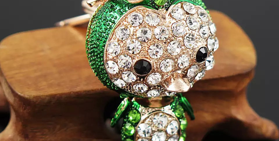Keychain Penguin Green Strass