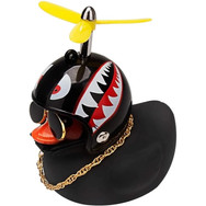 Canard Noir avec Casque de Moto