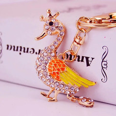 Porte-Clés Canard Couronne Strass Orange