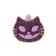 Pins Chat Citrouille Violet