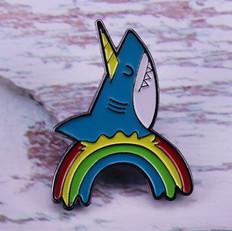 Pins Requin Licorne Arc en Ciel