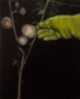 2013, Nocturnal with green glove I, 40x49,5 cm, oil on canvas