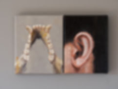 Primate series V and VI, 18x15 + 18x15 cm, oil on canvas, 2018 Luís Troufa