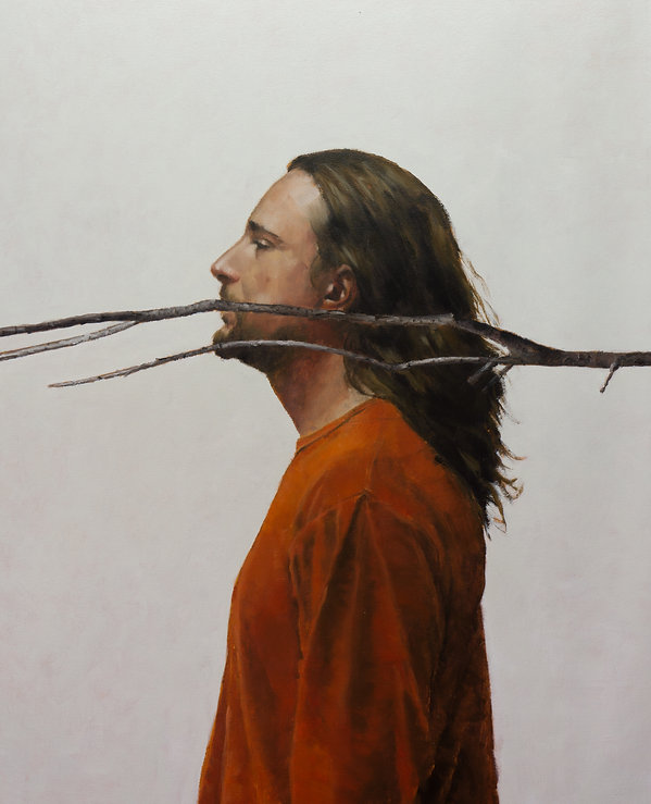 2014, Self with branch, 100x80 cm, oil on canvas.