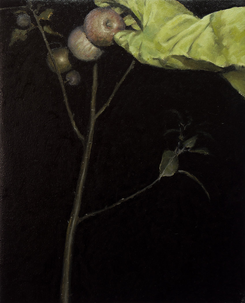 2013, Nocturnal with green glove II, 40x49,5 cm, oil on canvas