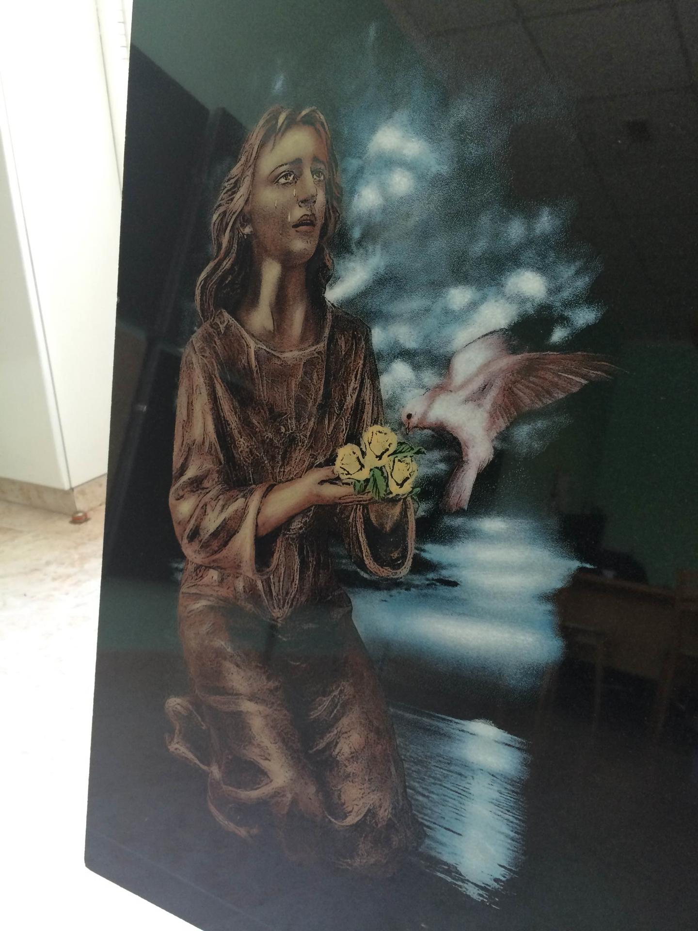 Lapida laser angel con paloma
