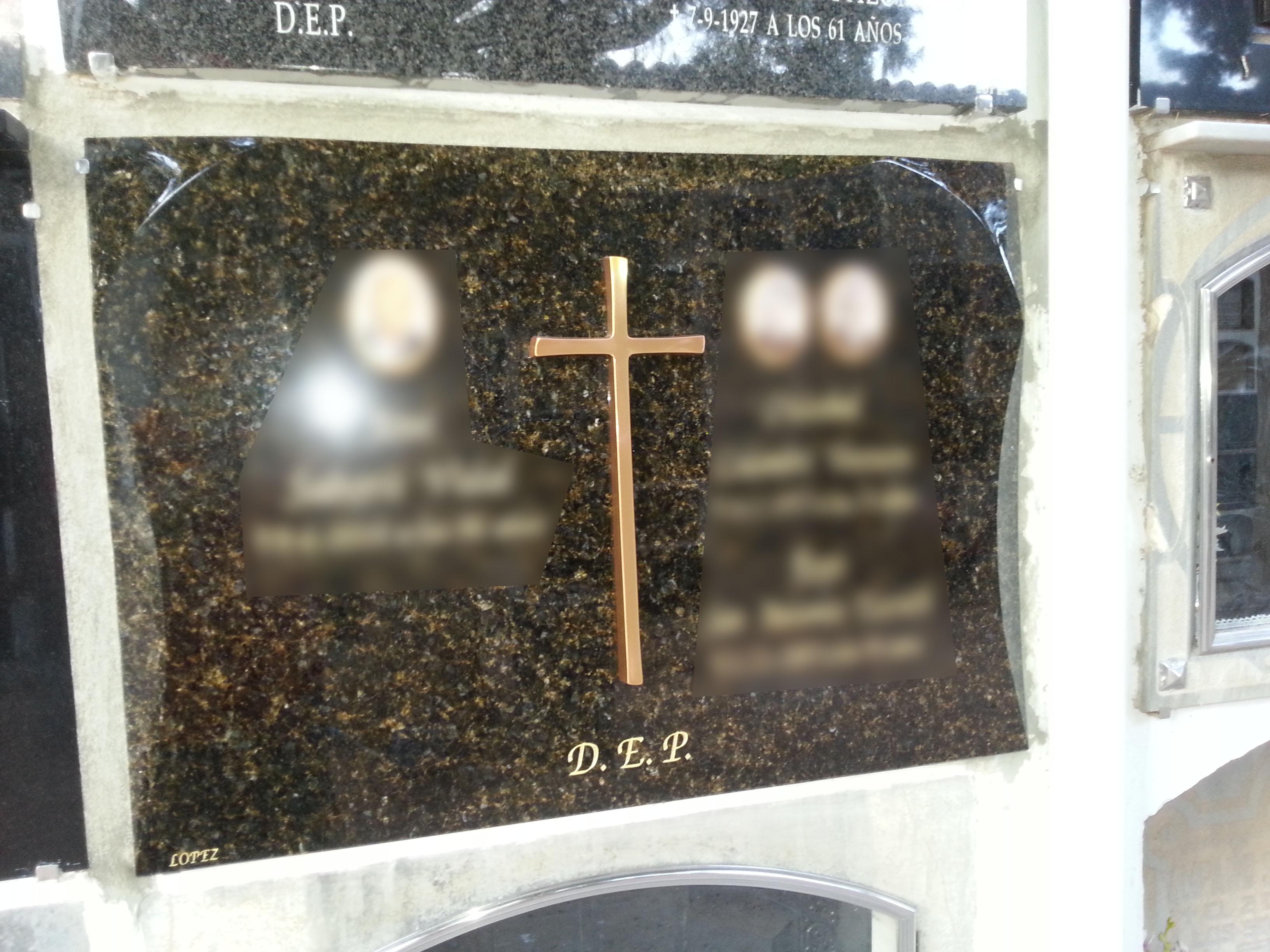 Lapida cruz bronce
