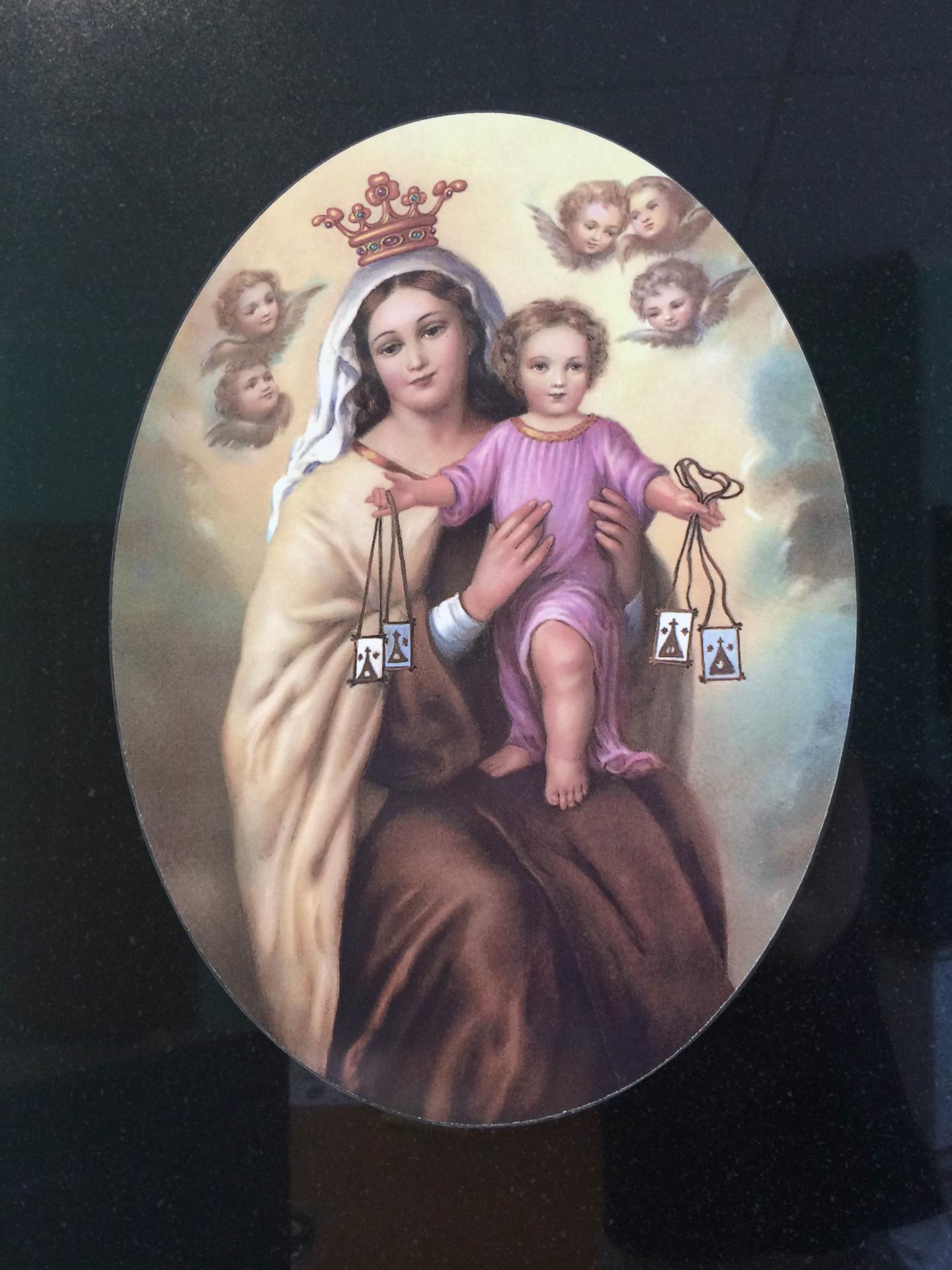 Lapida incrustación Virgen dl carmen