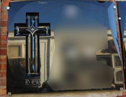 Lapida cruz pata de cabra fondo puli